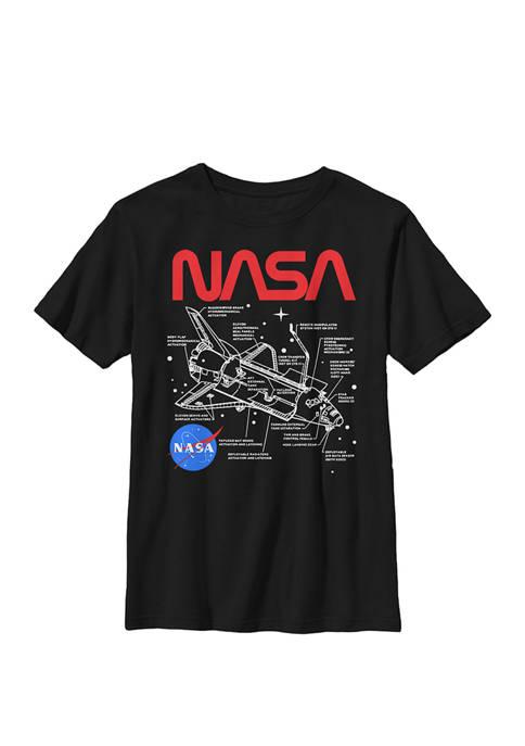 Shuttle Schematics Poster Style Crew Graphic T-Shirt