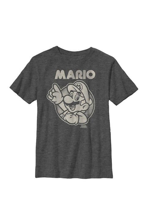 Super Mario Pointing Line Art Crew Graphic T-Shirt