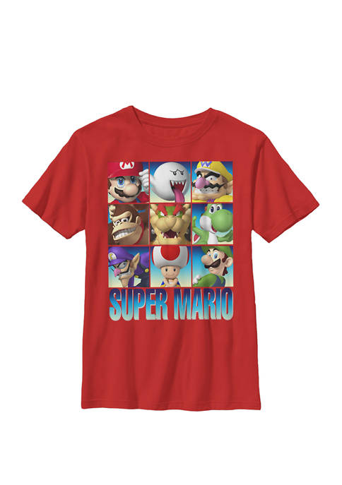 Super Mario Character Stack Gradient Crew Graphic T-Shirt
