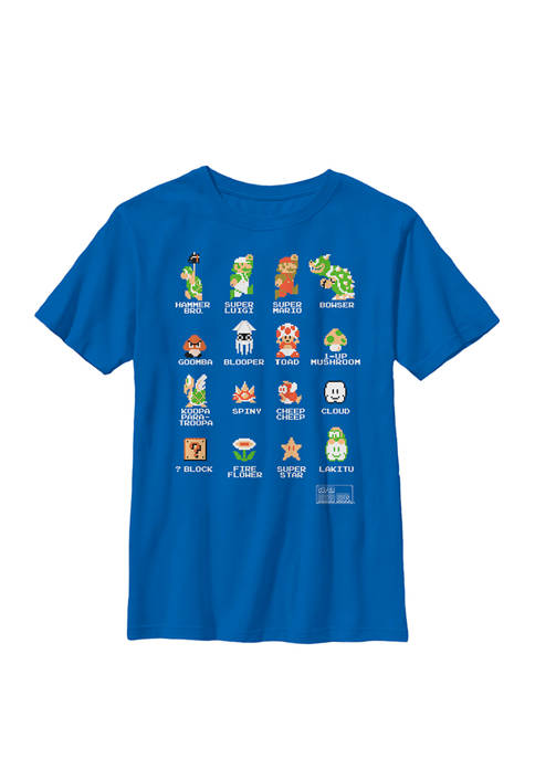 Super Mario 8 Bit Good & Bad Characters Crew Graphic T-Shirt