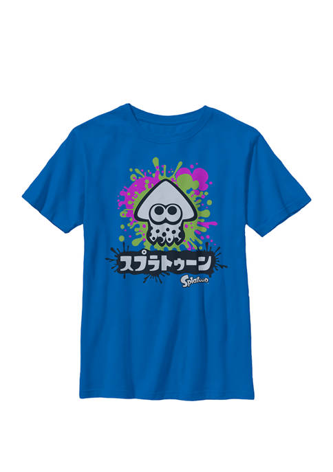 Splatoon Inkling Text Splatter Crew T-Shirt