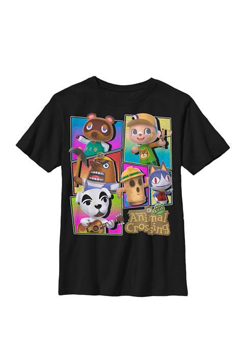 Nintendo Animal Crossing Colorful Panels Villagers Crew T-Shirt