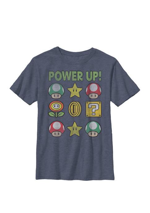 Super Mario Power Up Items Vintage Crew Graphic T-Shirt