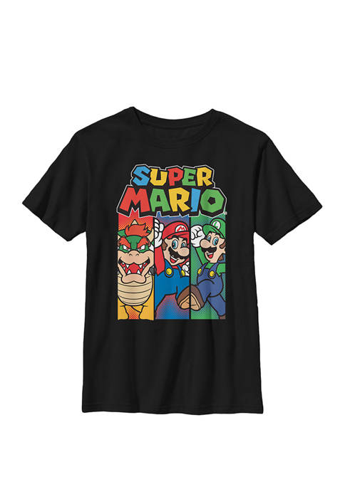 Nintendo Boys Super Mario Colorful Character Panels Logo