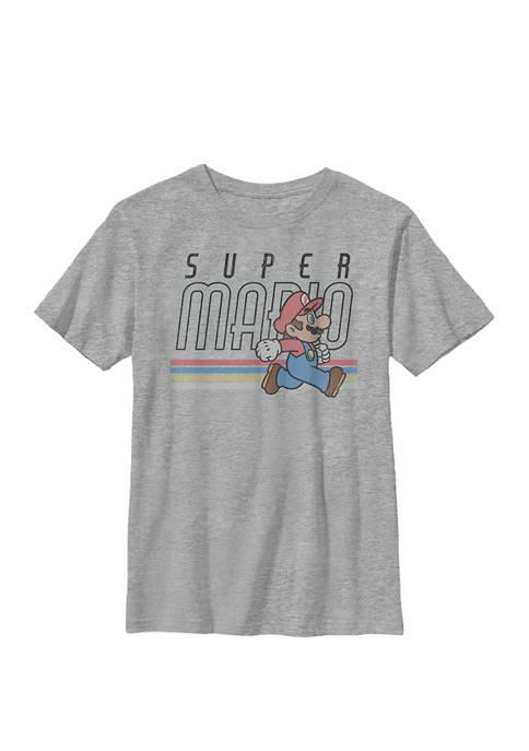 Super Mario Retro Rainbow Side Run Crew Graphic T-Shirt