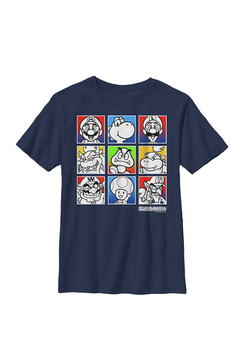 Boys Super Mario Colorful Character Squares Crew T-Shirt