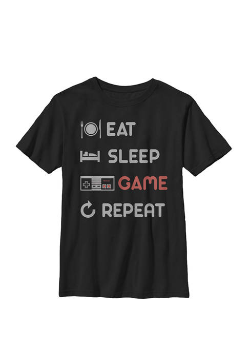 Eat Sleep Game Repeat Crew Graphic T-Shirt