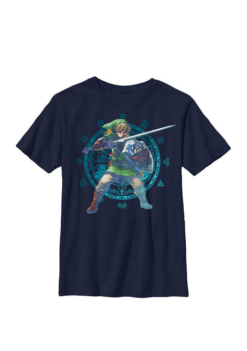 Boys Legend of Zelda Link Geometric Artsy Glow Crew T-Shirt