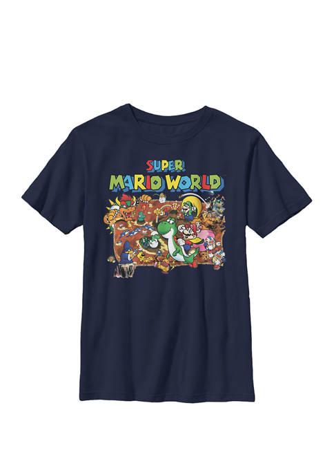 Boys Super Mario World Retro Map Crew T-Shirt