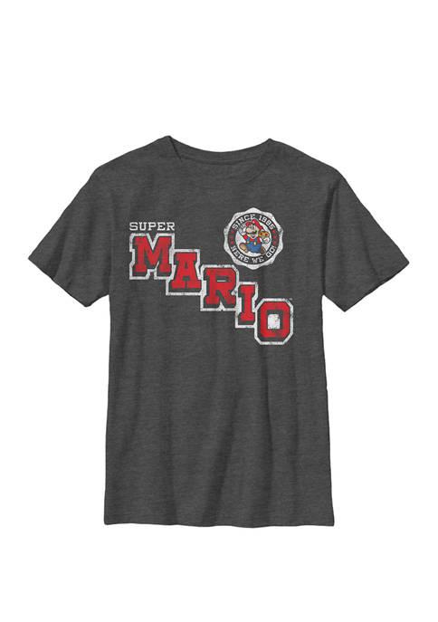 Boys Super Mario Varsity Emblem Vintage Crew T-Shirt