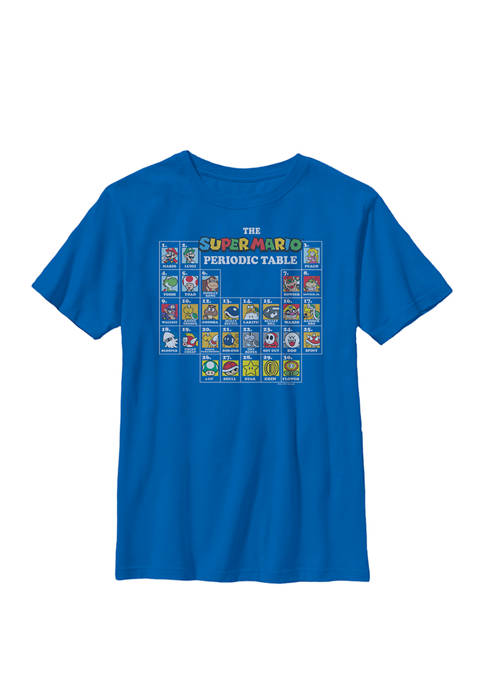 Boys Super Mario Periodic Table Of Characters Crew T-Shirt