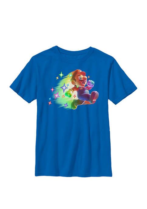 Super Mario Jumping Rainbow Stars Crew Graphic T-Shirt