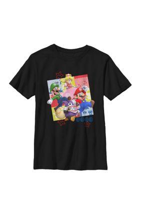 Nintendo Boys Super Mario Group Shot Jumping Pose Crew Graphic T-Shirt