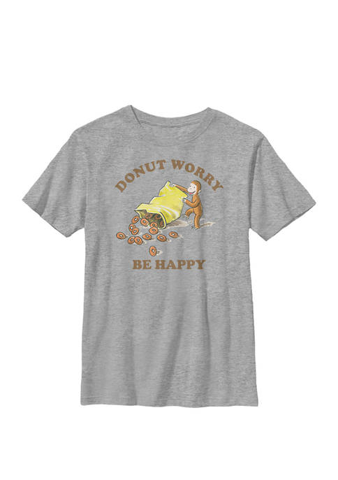 Donut Worry Be Happy Text Poster Crew Graphic T-Shirt