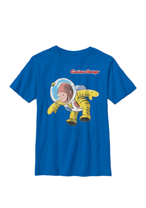 Curious George In Space Suit Crew Graphic T-Shirt