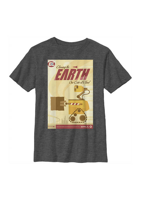 Boys 4-7 Wall-E Cleaning the Earth Poster Graphic T-Shirt