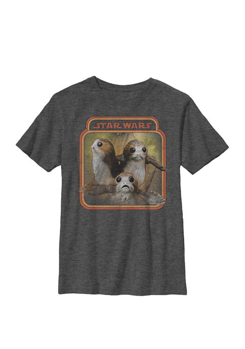 Boys Porgs Triple Portrait Poster Crew T-Shirt