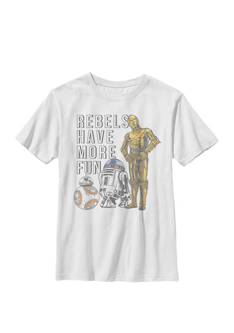 Boys Rebels Have More Fun Text Crew T-Shirt