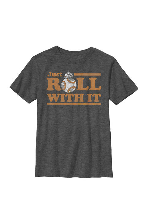 Boys BB-8 Just Roll With It Text Crew