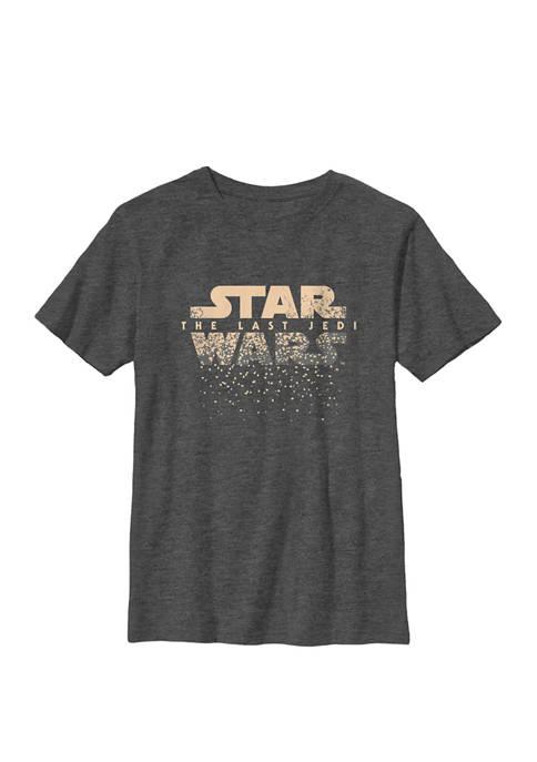 Boys The Last Jedi Stars Falling Classic Movie Logo Crew T-Shirt
