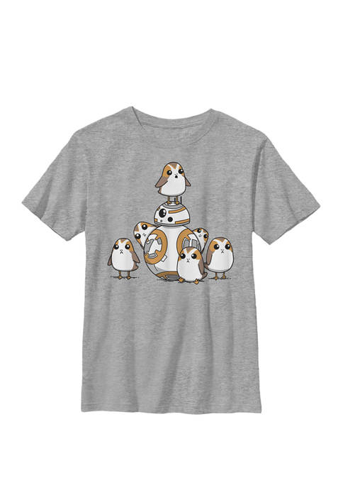 Boys BB-8 And Porgs Animated Art Poster Crew T-Shirt