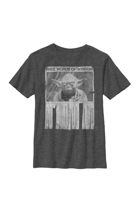 Boys Yoda Poster Words Of Wisdom Crew T-Shirt