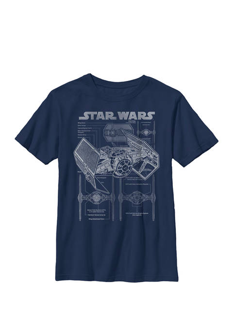 TIE Fighter Blue Print Grid Poster Crew Graphic T-Shirt