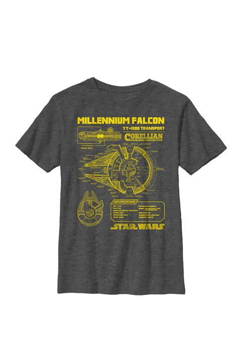 Boys 8-20 Gold Millennium Falcon Schematics Crew T-Shirt