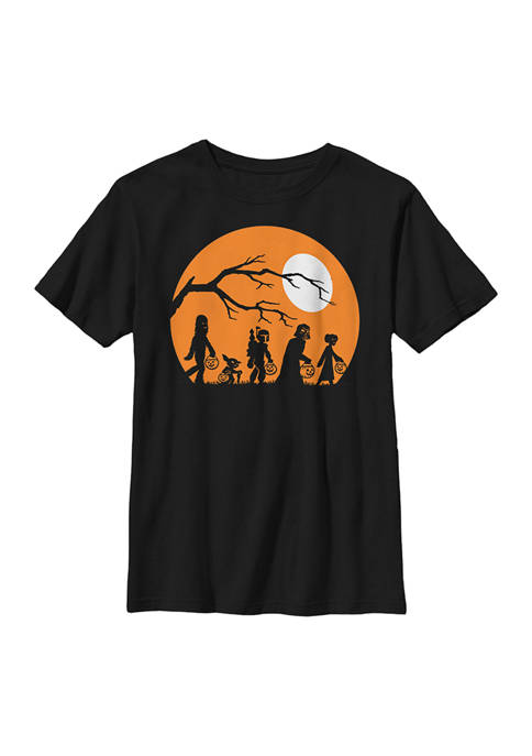 Trick Or Treat Halloween Silhouette Crew Graphic T-Shirt