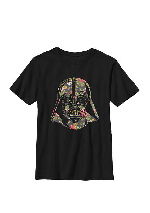 Darth Vader Floral Tropical Hawaiian Flower Bouquet Crew Graphic T-Shirt