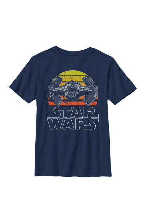 Tie Fighter Retro Halftone Sunset Crew Graphic T-Shirt