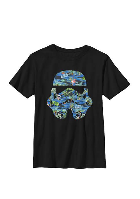 Boys 8-20 Stormtrooper Hawaiian Print Helmet Crew Graphic