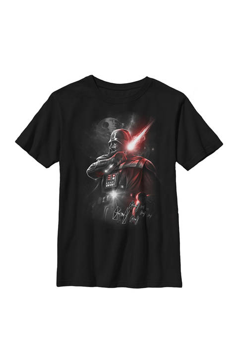 Boys 8-20 Darth Vader Lightsaber Portrait Crew Graphic T-Shirt