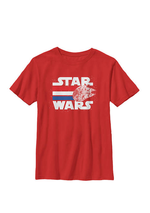 Boys 8-20 Falcon Stripes Red White & Blue July 4th Crew Graphic T-Shirt