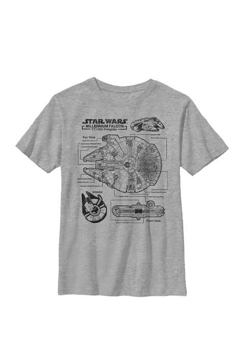 Boys 8-20 Millennium Falcon Schematic Crew Graphic T-Shirt