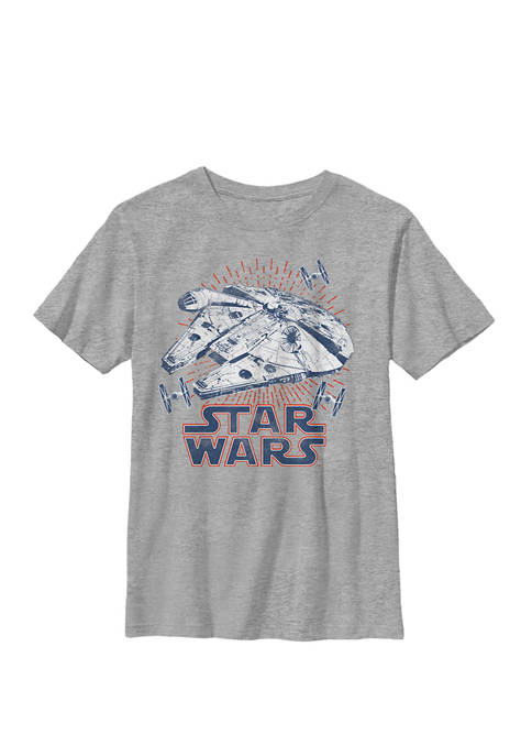 Falcon Logo 4th Of July Fireworks Crew Graphic T-Shirt