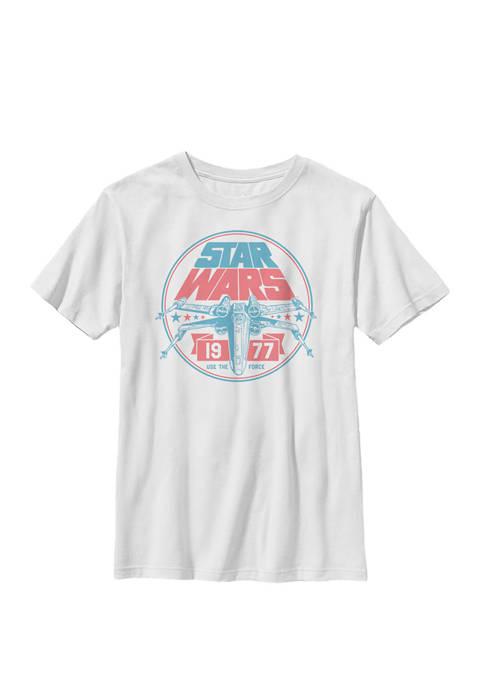 Patriotic X-Wing Vintage Badge Crew Graphic T-Shirt