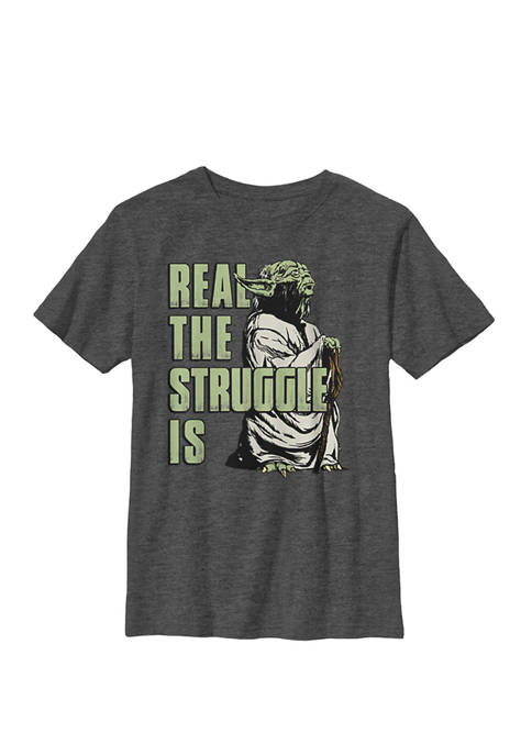 Boys 8-20 Yoda Real The Struggle Is Crew Graphic T-Shirt
