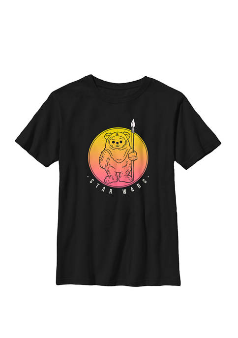 Boys 8-20 Ewok Outline Sunset Circle Crew Graphic