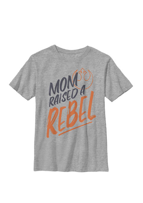 Boys 8-20 Mom Raised A Rebel Orange Text