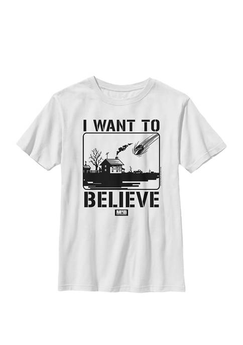 Want To Believe Falling Meteor Poster Crew Graphic T-Shirt