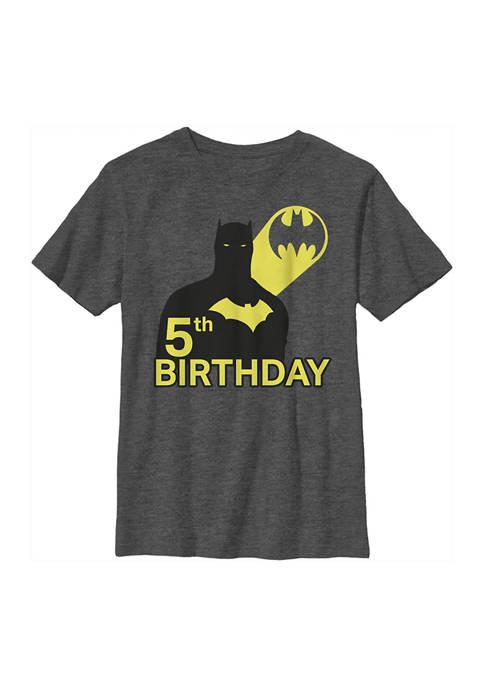 Batman™ Boys 4-7 5th Bat Birthday Graphic T-Shirt