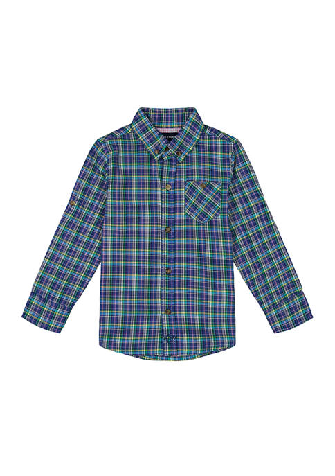 Andy & Evan Toddler Boys Knit Plaid Button