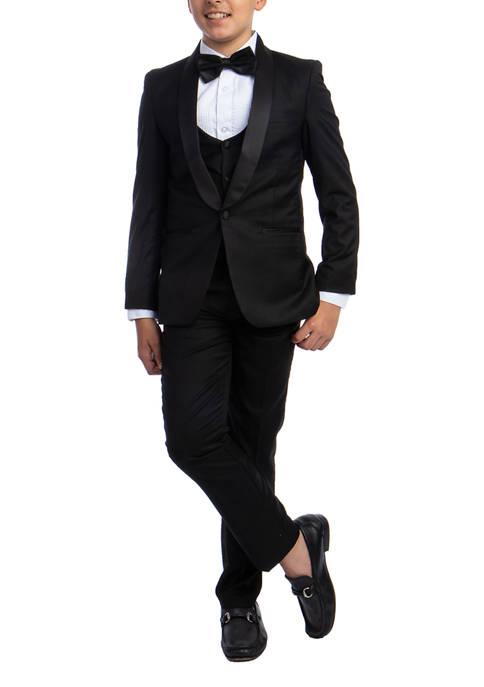 Boys 2-20 Black 5-Piece Shawl Collar Tuxedo