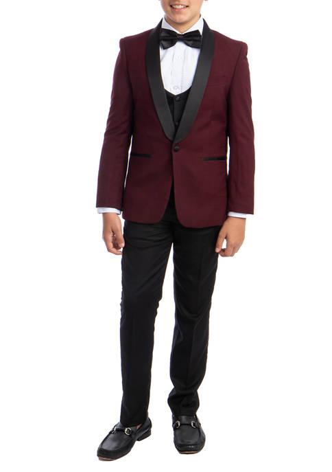 Boys 2-20 Burgundy 5-Piece Shawl Collar Tuxedo