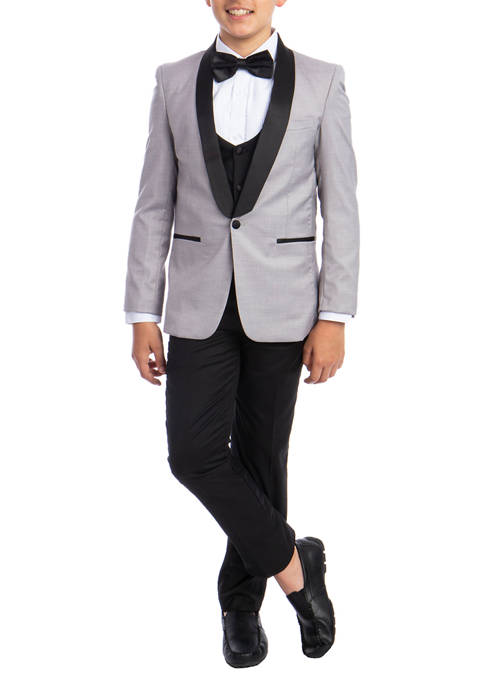 Boys 2-20 Light Grey 5-Piece Shawl Collar Tuxedo