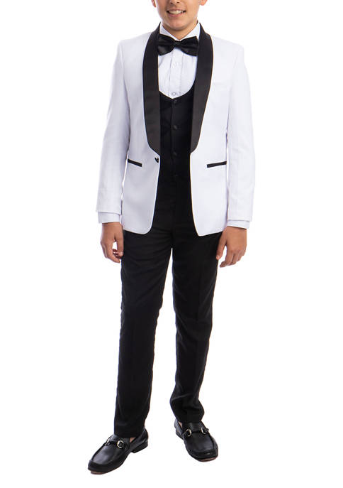 Boys 2-20 White 5-Piece Shawl Collar Tuxedo