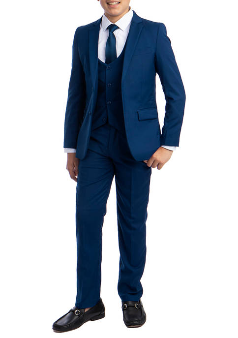 Boys 2-20 Indigo Blue Solid 5-Piece Suit