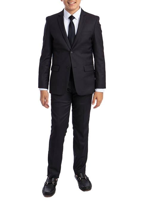 Boys 2-20 Dark Grey Solid 5-Piece Suit