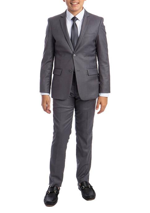 Boys 2-20 Medium Grey Solid 5-Piece Suit